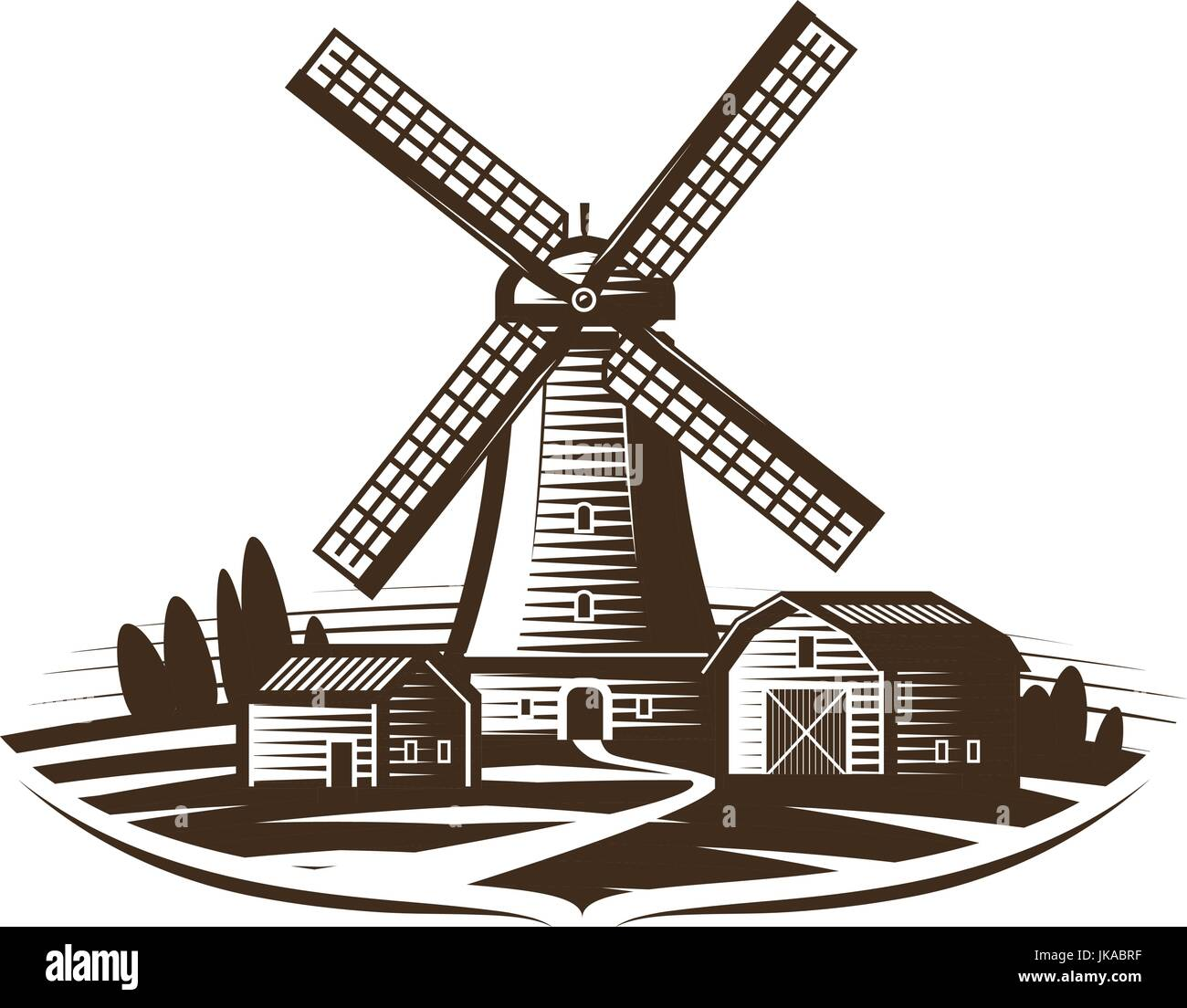 Windmill, mill logo or label. Farm, rural landscape, agriculture, bakery, bread icon. Vintage vector illustration - Stock Vector