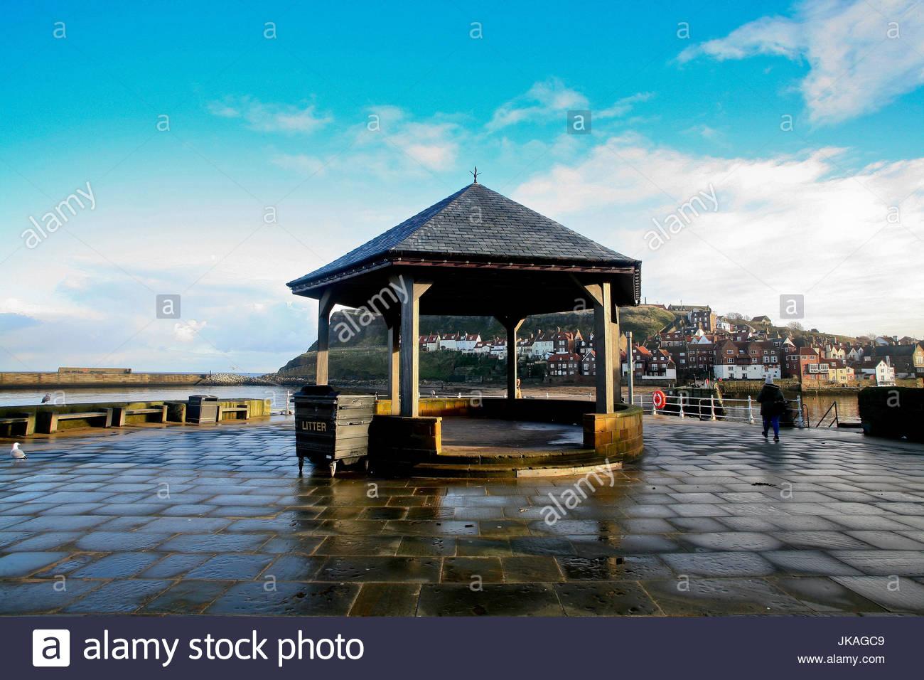 Bandstand, Whitby Promenade, Yorkshire, England, UK. - Stock Image