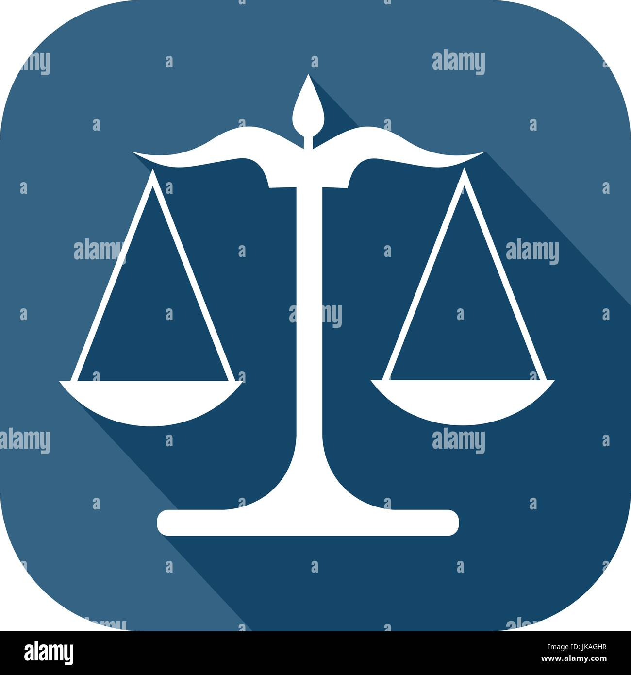 Blue and white icon of a scale to illustrate justice and law - Stock Vector