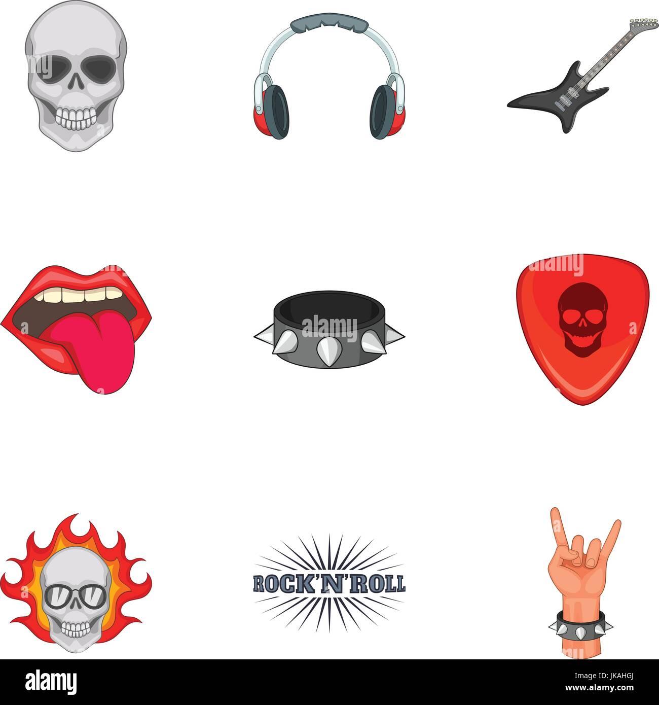 6c258762e Rock n roll sticker icons set, cartoon style Stock Vector Art ...