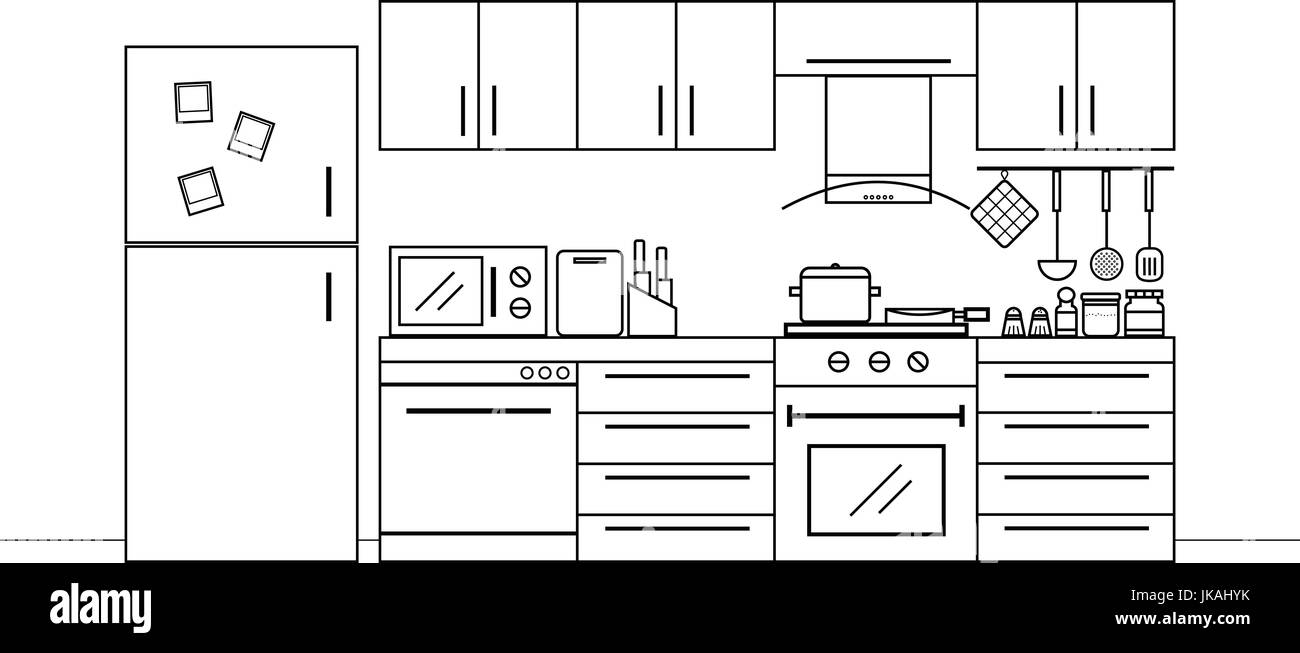 Kitchen interior design in black and white color with furniture and lots of kitchen utensils - Stock Vector