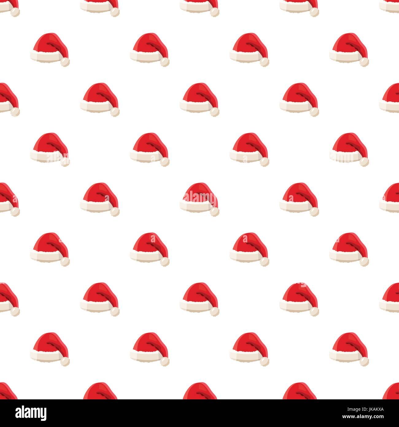 Red Santa Claus hat pattern - Stock Image