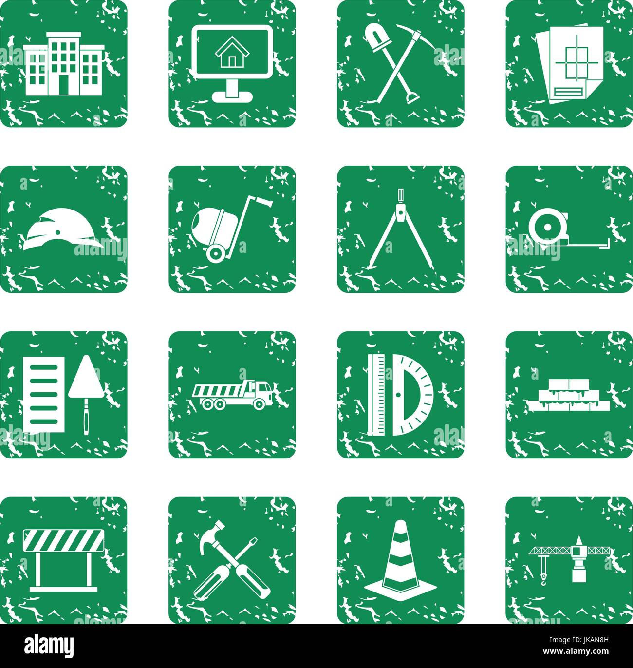 Construction icons set grunge Stock Vector