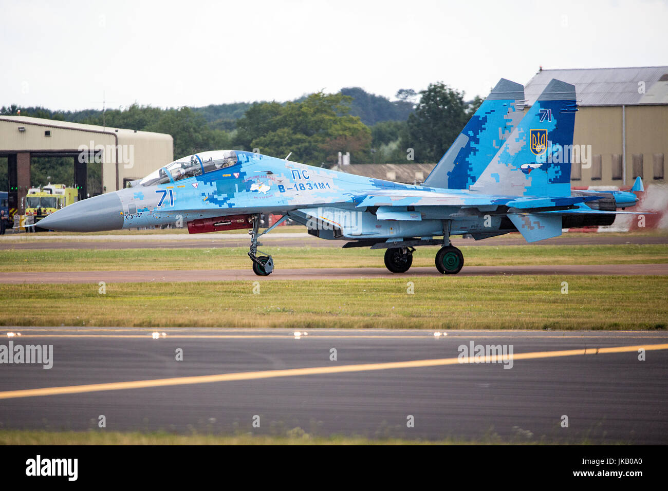 Su-27 Flanker from the Ukrainian Air Force seen at the Royal International Air Tattoo 2017 - Stock Image