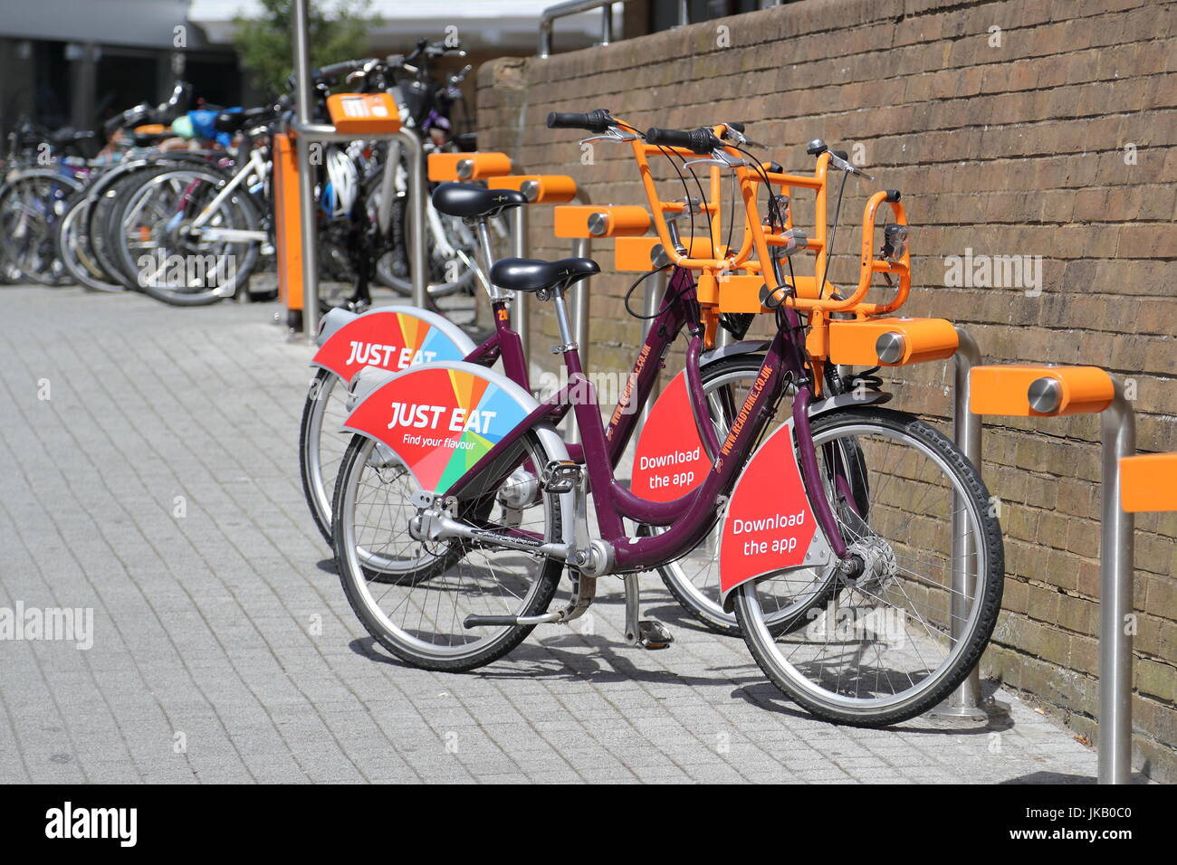 Readybikes, bicycles for hire at Reading Station, UK - Stock Image