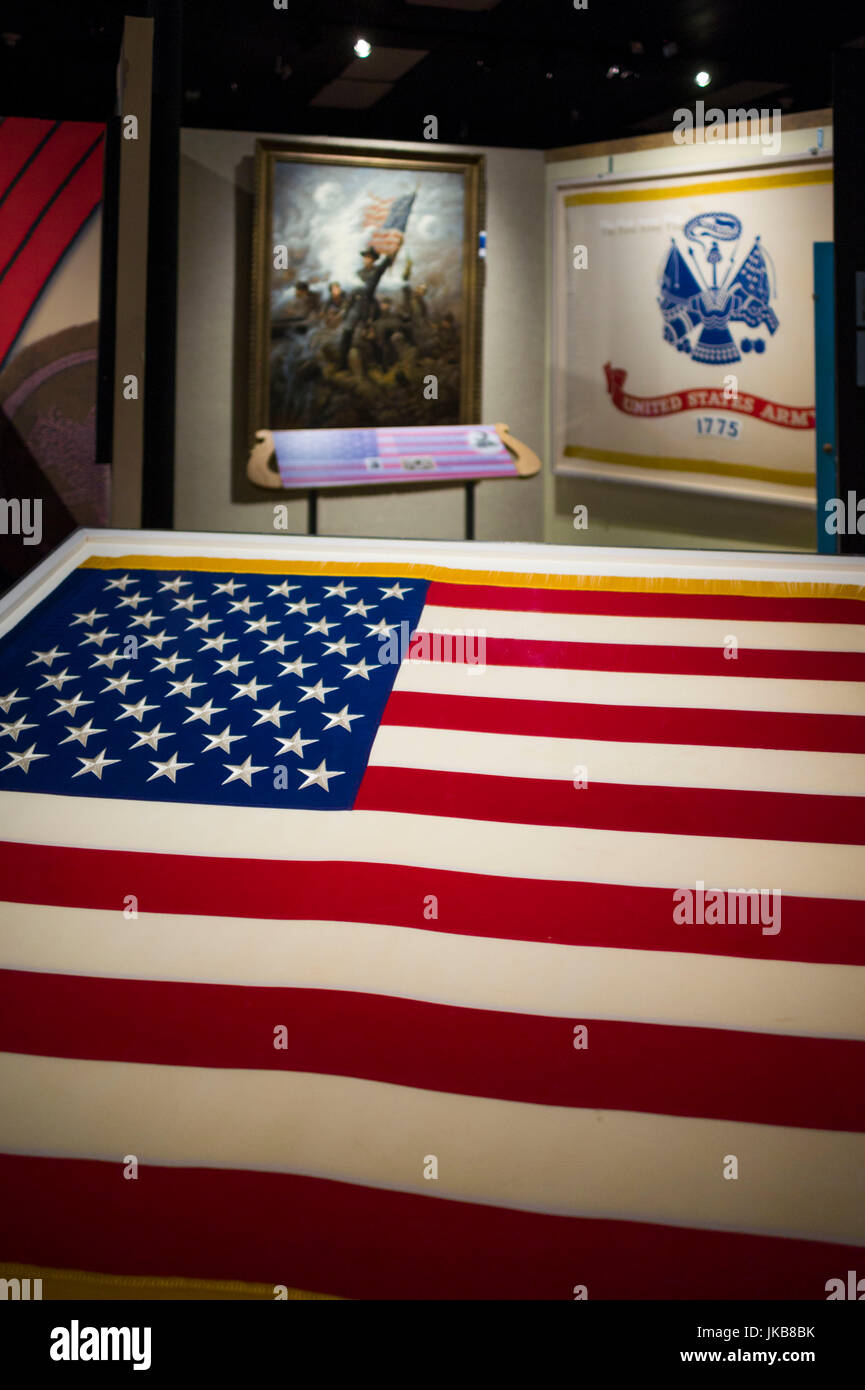 USA, Virginia, Fort Lee, US Army Quartermaster Corps Museum at Fort Lee, US Flag - Stock Image