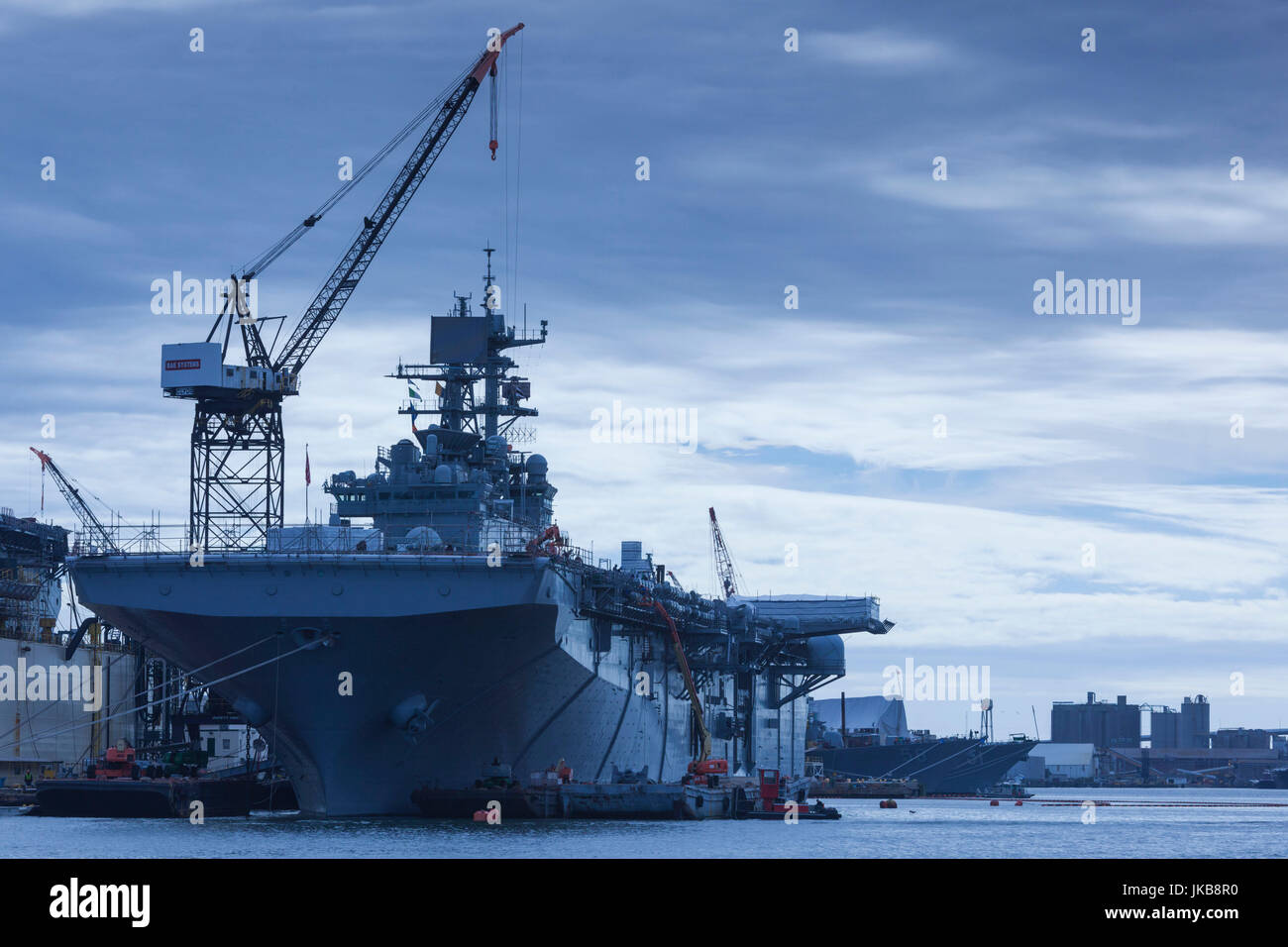 USA, Virginia, Portsmouth, Portsmouth Naval Shipyard, aircraft carriers under construction - Stock Image