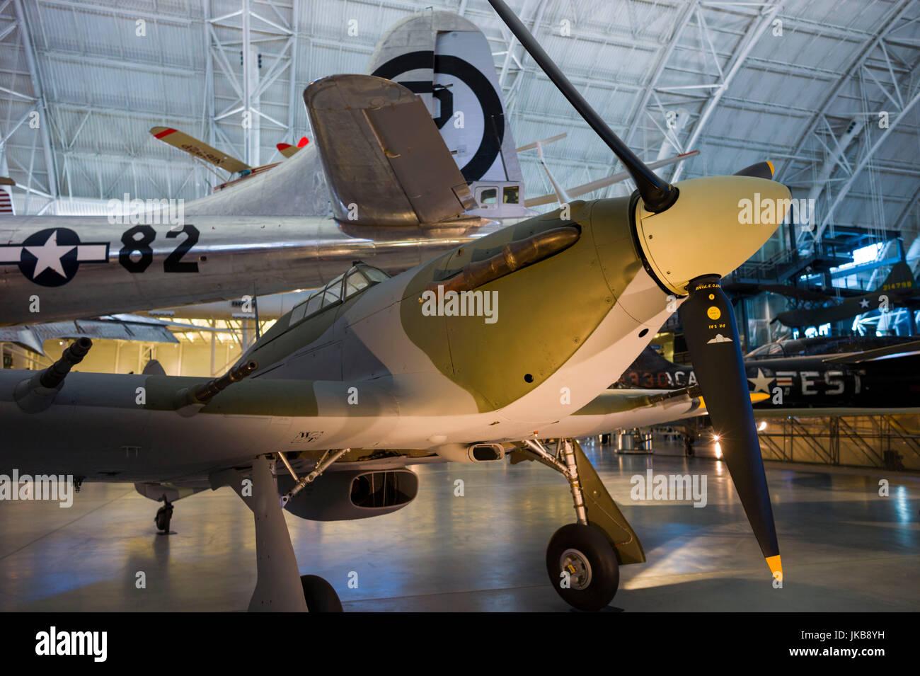 USA, Virginia, Herdon, National Air and Space Museum, Steven F. Udvar-Hazy Center, air museum, WW2-era British Hawker - Stock Image