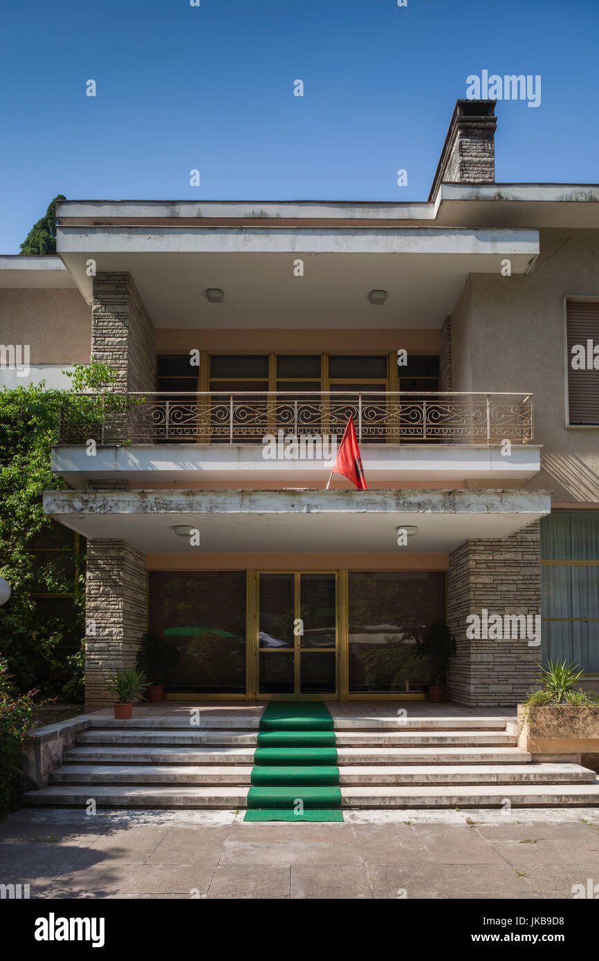 Albania, Tirana, Blloku area, formerly used by Communist party elite, former home of Communist leader Enver Hoxha - Stock Image