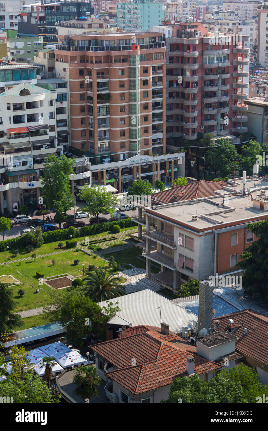 Albania, Tirana, Blloku area, formerly used by Communist party elite, elevated view of the home of Enver Hoxha, - Stock Image
