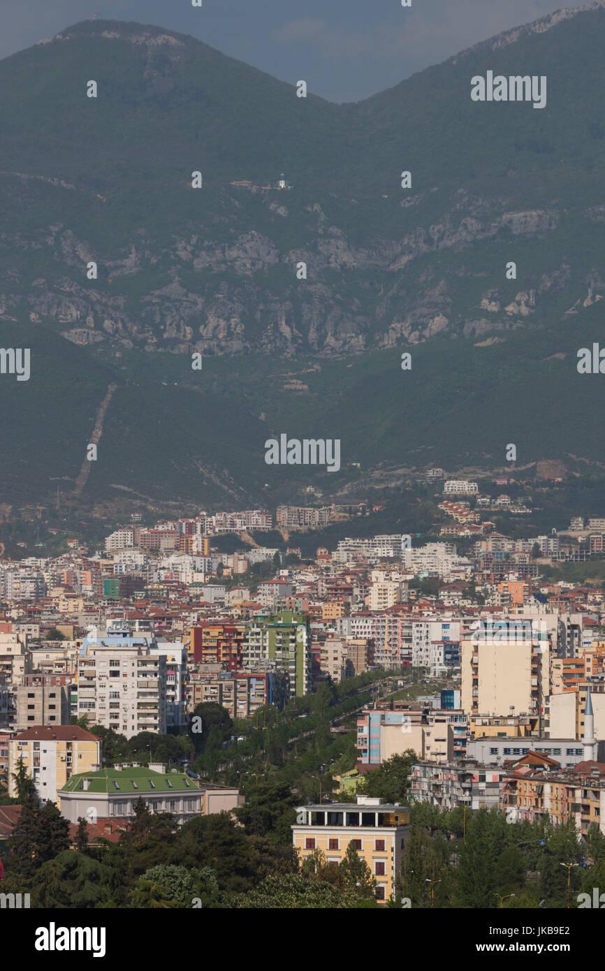 Albania, Tirana, elevated city view Stock Photo