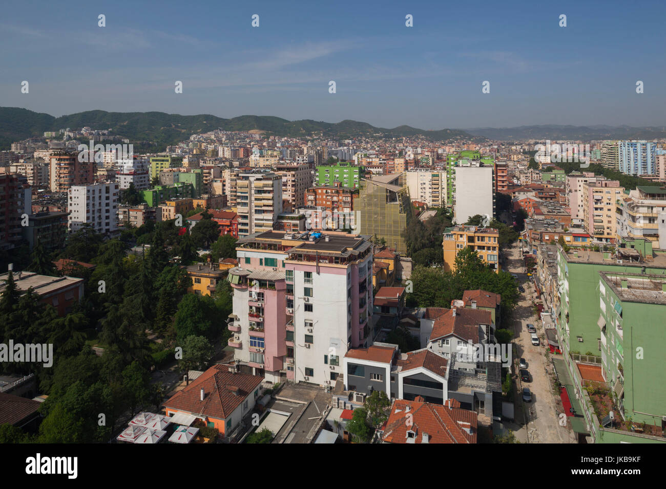 Albania, Tirana, elevated city view Stock Photo