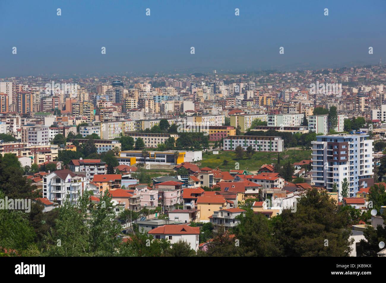 Albania, Tirana, elevated city view - Stock Image