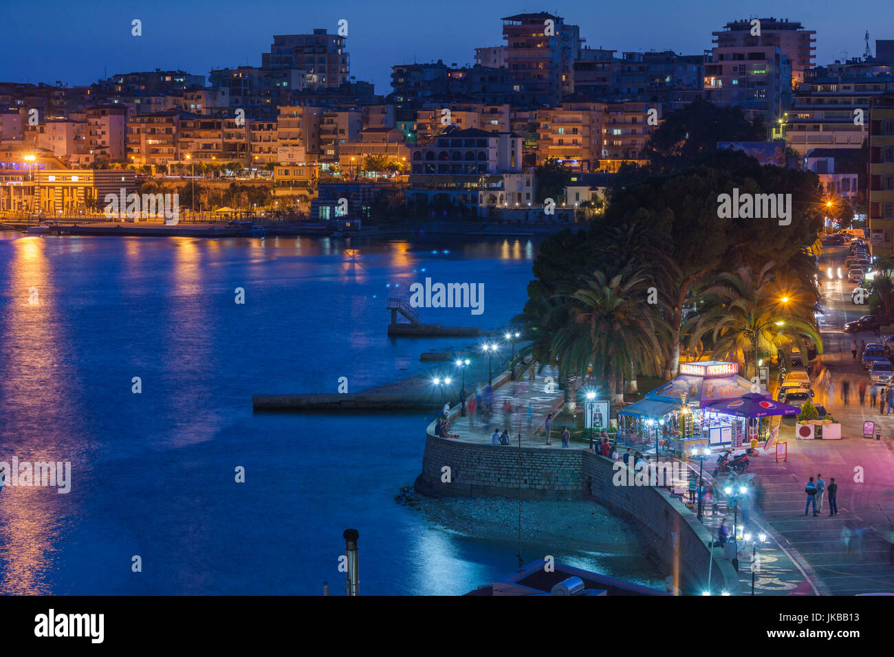Albania, Albanian Riviera, Saranda, beachfront promenade, dusk Stock Photo