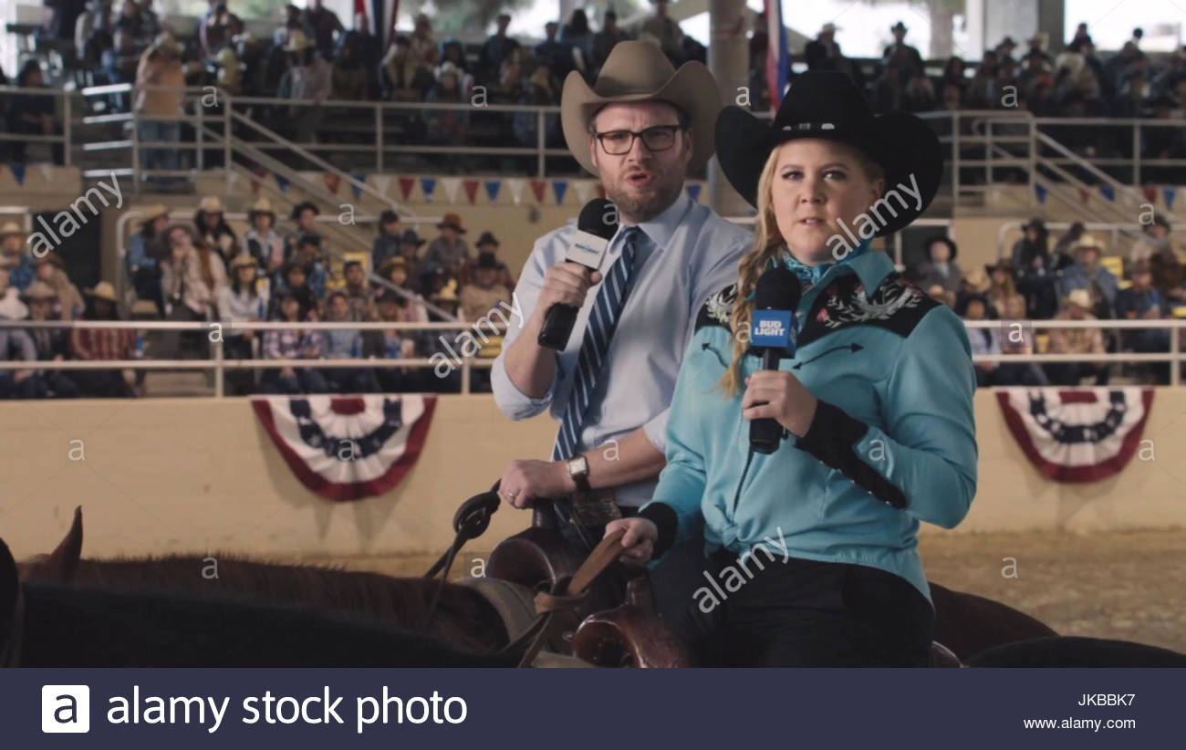 Amy schumer and seth rogen amy schumer and seth rogen appear on amy schumer and seth rogen appear on horseback in bud light super bowl ad the commercial which will air during the live game broadcast on february 7 aloadofball Images