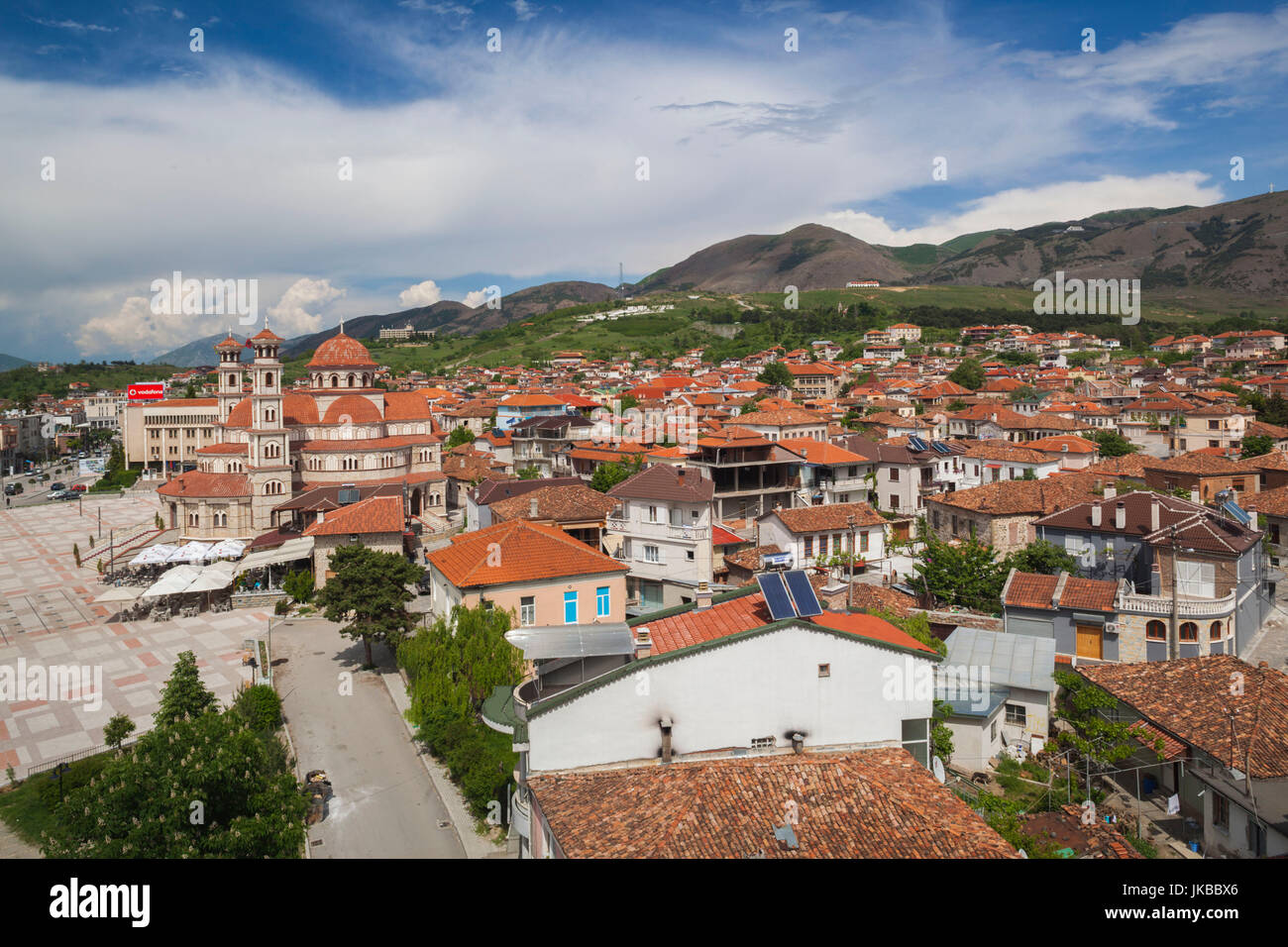 Albania, Korca, the Orthodox Cathedral, elevated view along the Boulevard Republika - Stock Image