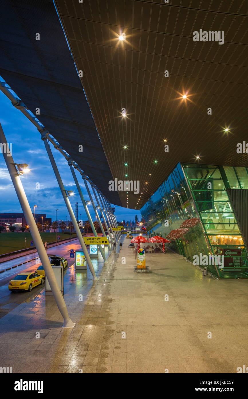 Albania, Tirana, Rinas, Mother Teresa International Airport, terminal building, dusk - Stock Image
