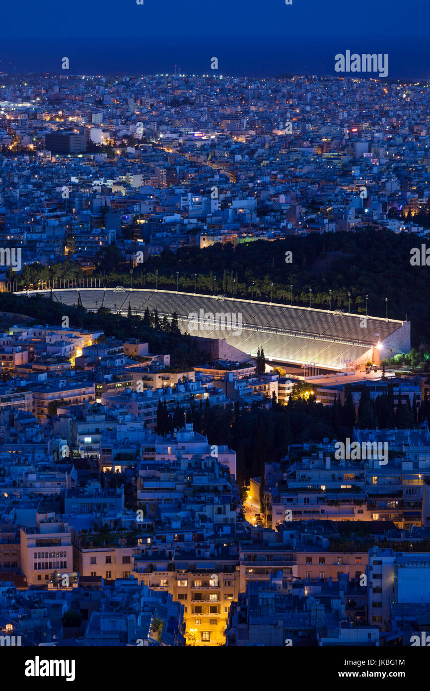 Greece, Central Greece Region, Athens, Lycabettus Hill, elevated city view with the Panathenaic Stadium, home of Stock Photo