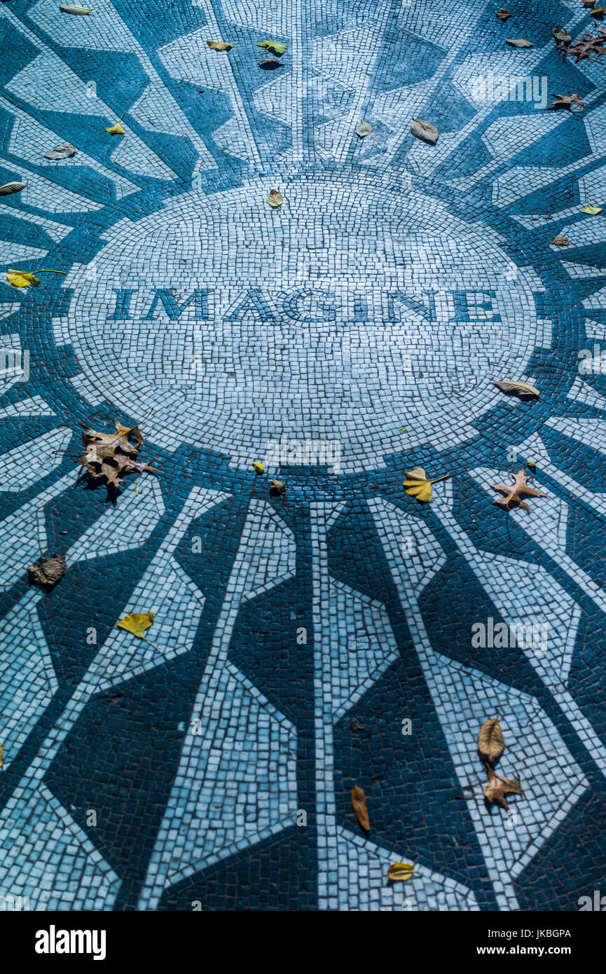 USA, New York, New York City, Central Park, John Lennon Memorial, Imagine, Strawberry Fields - Stock Image