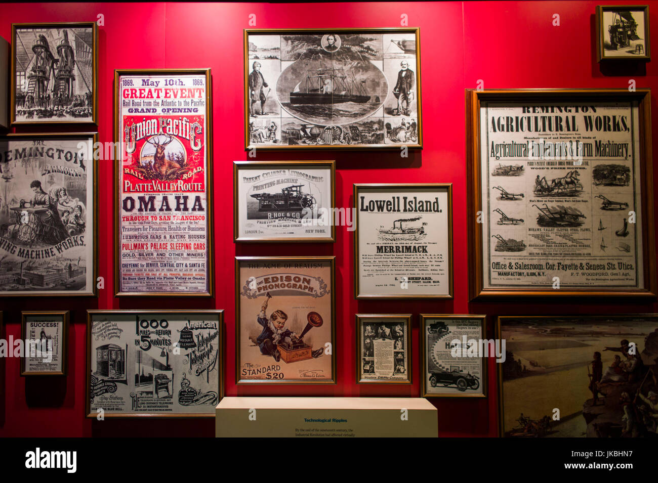USA, Massachusetts, Lowell, Lowell National Historic Park, Boott Cotton Mills Museum, exhibits on Lowell's history - Stock Image
