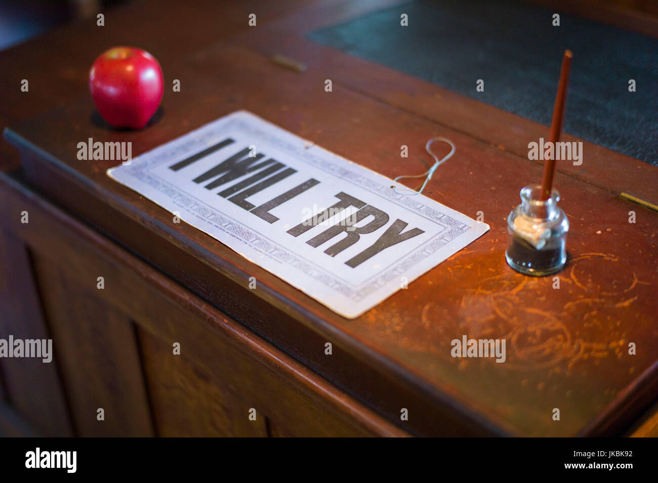 School House, I Will Try, motivational sign - Stock Image