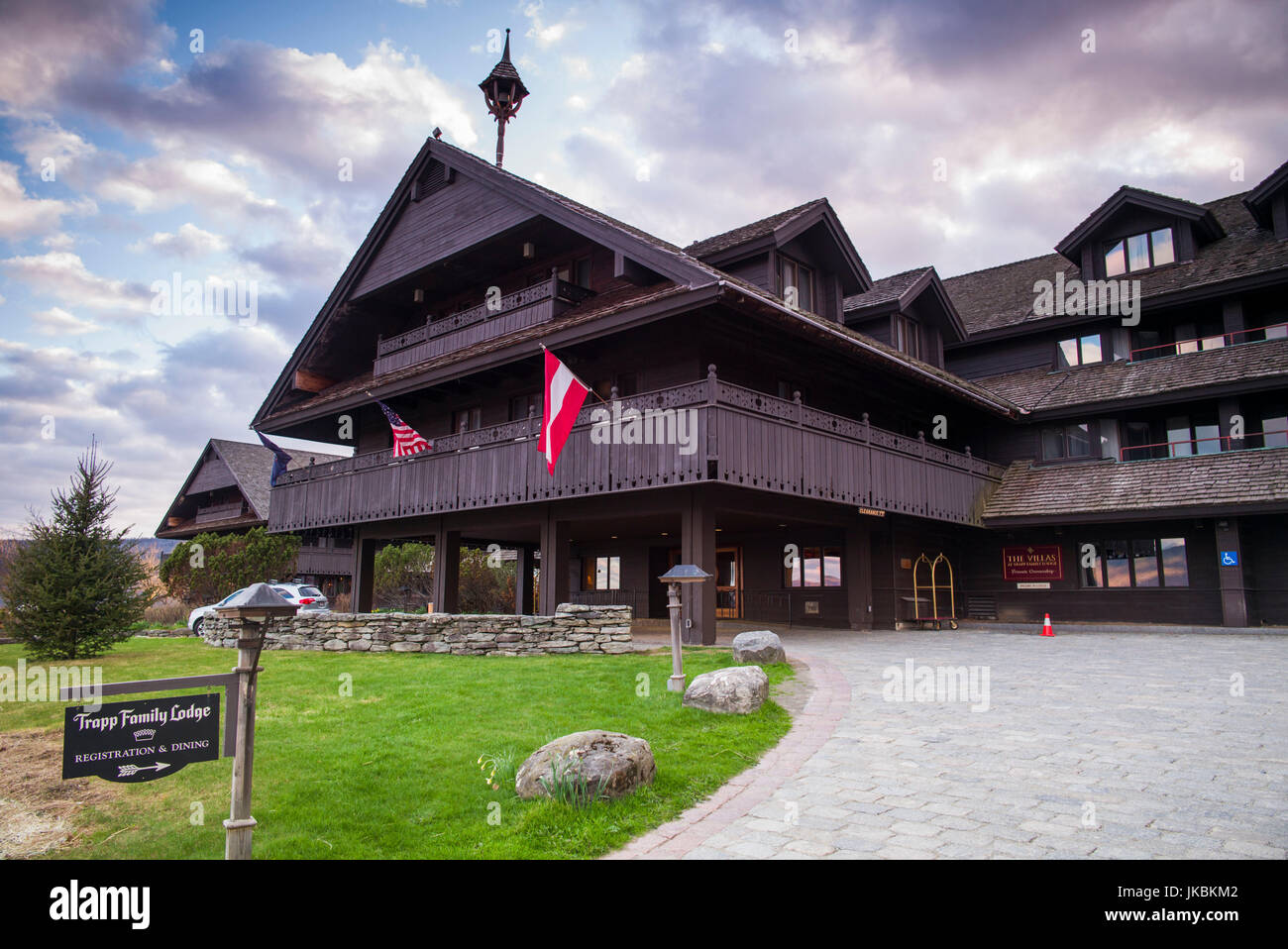 USA, Vermont, Stowe, Trapp Family Lodge, hotel owned by the von Trapp Family - Stock Image