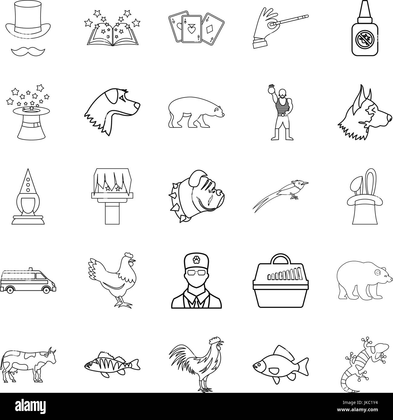 Veterinarian icons set, outline style - Stock Image