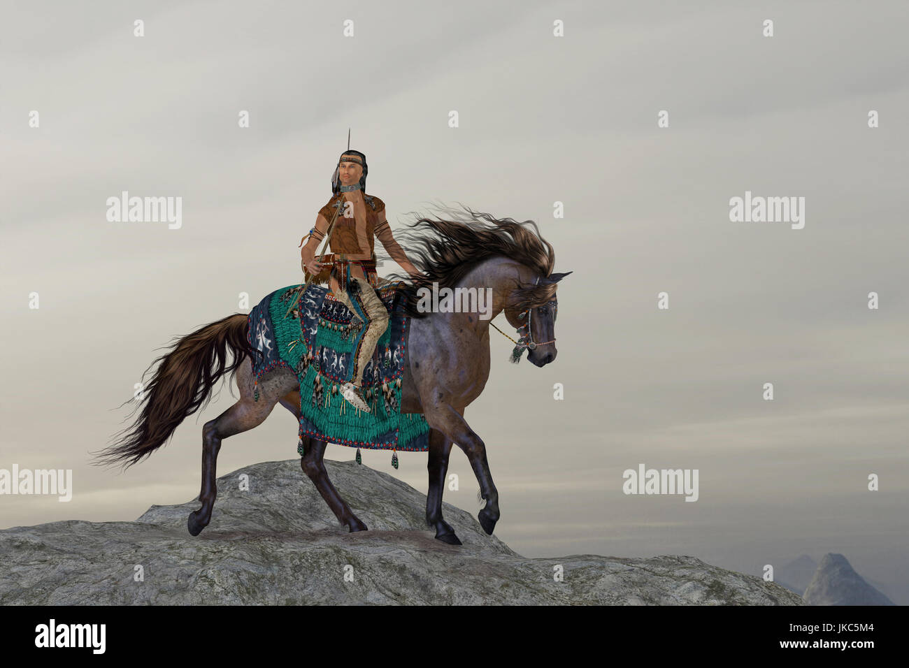 A North American Indian brave searches the mountains on his horse for big game to bring back to his tribe. - Stock Image