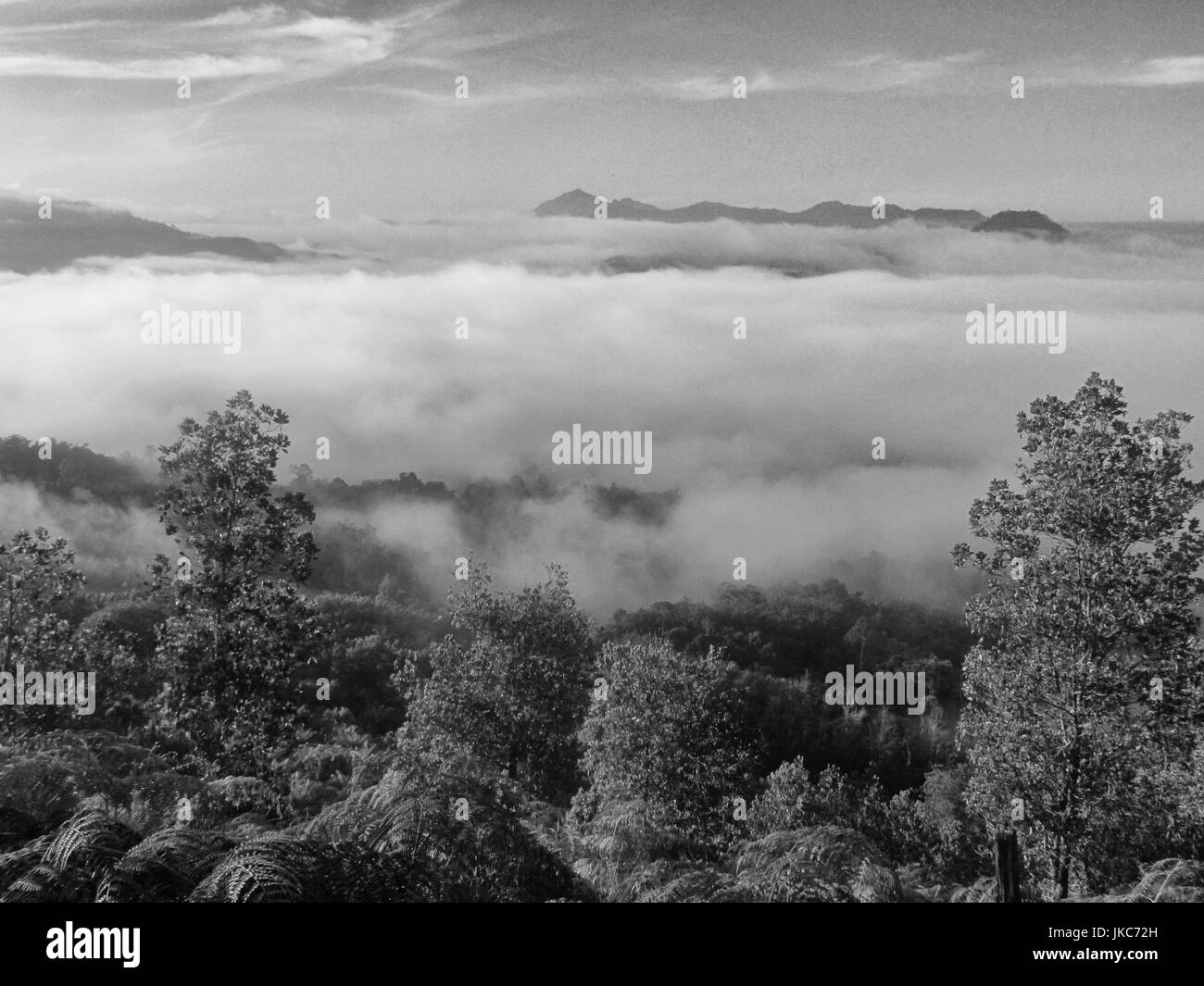 Morning view of the horizon from above the clouds in Bonkud, Borneo in black and white - Stock Image
