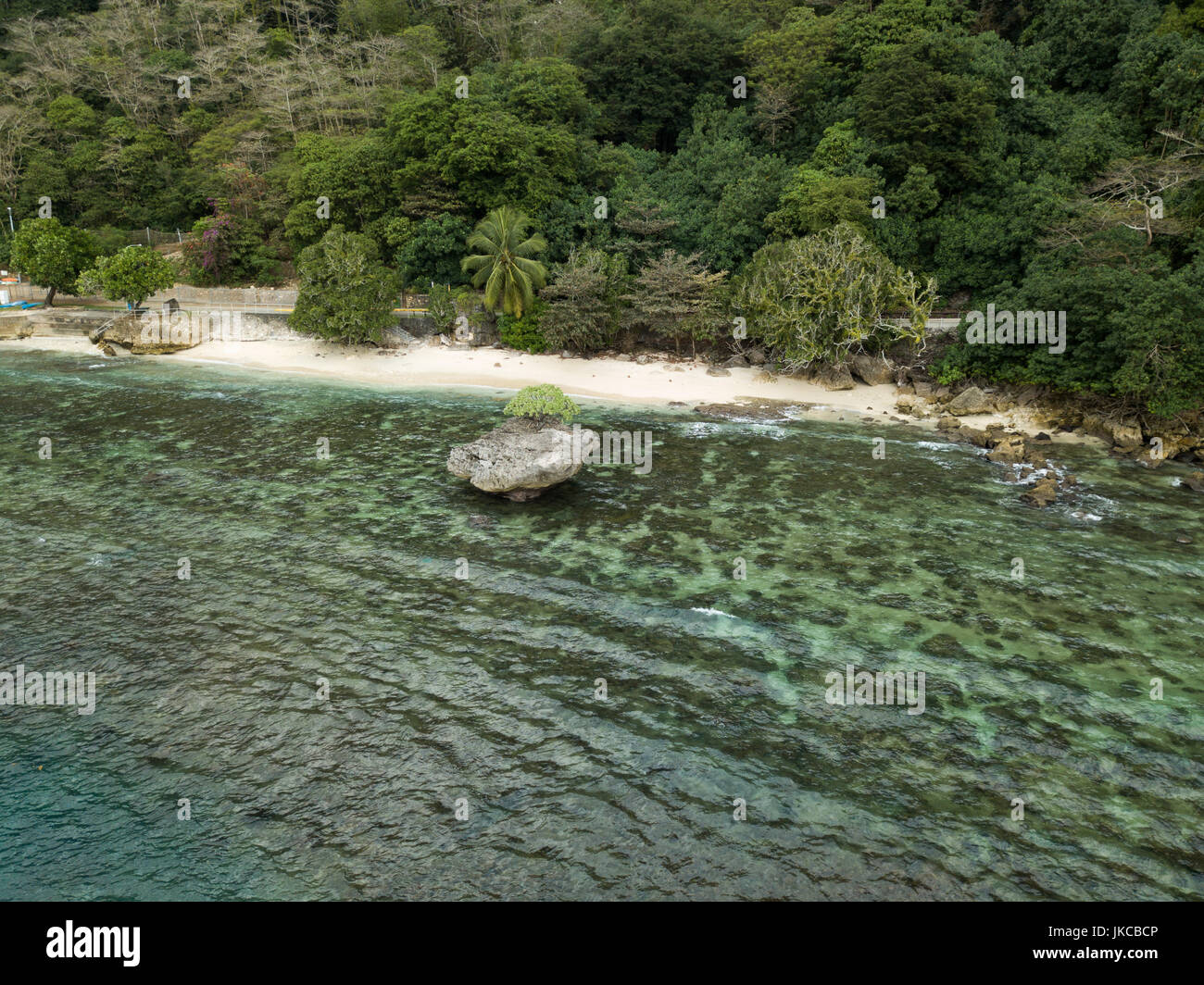 Flying Fish Cove on Christmas Island, an Australian territory in the Indian Ocean - Stock Image