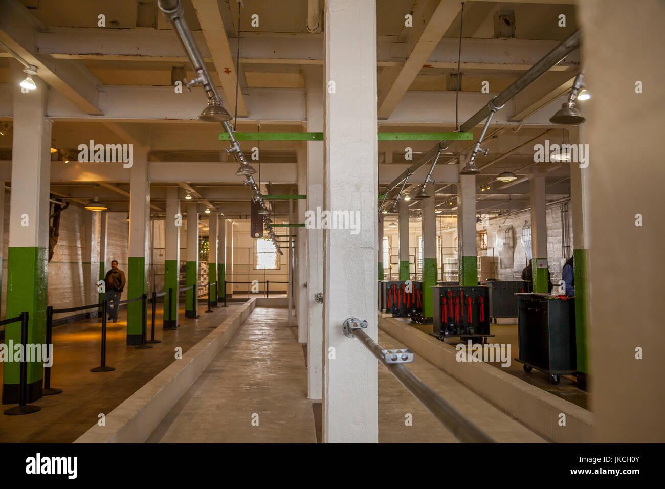 Shower area in Alcatraz penitentiary, San Francisco, California, USA - Stock Image