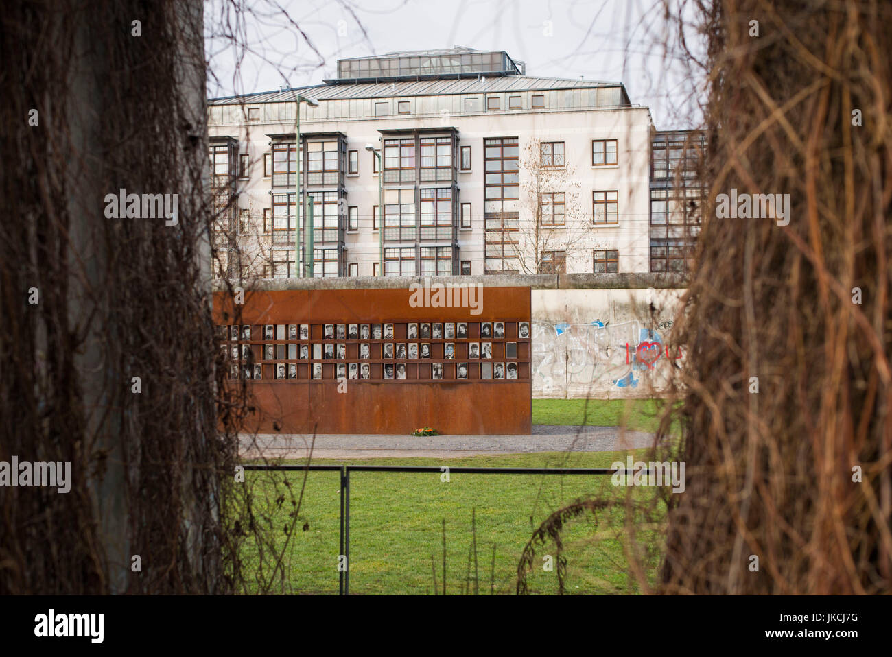 Germany, Berlin, Prenzlauer Berg, Berlin Wall Memorial, photos of people killed by border guards escaping East Berlin Stock Photo