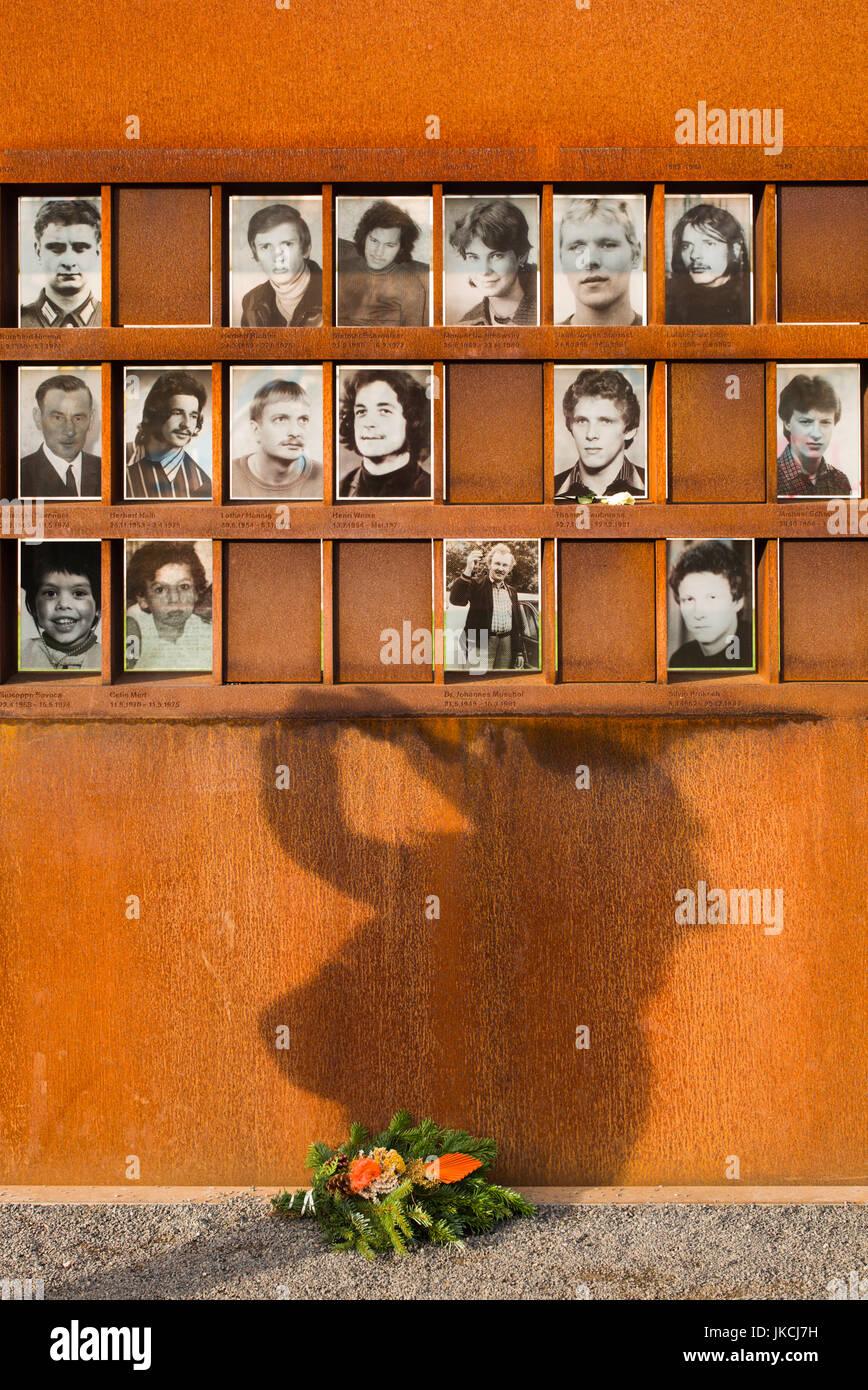 Germany, Berlin, Prenzlauer Berg, Berlin Wall Memorial, photos of people killed by border guards escaping East Berlin - Stock Image