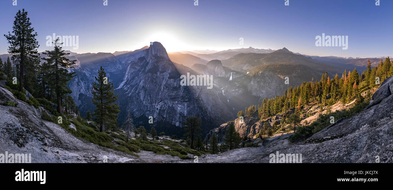Panoramic views from Glacier Point of Half Dome and Yosemite Falls Stock Photo