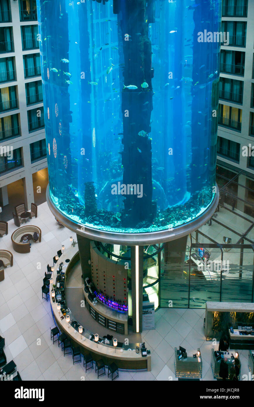 Germany, Berlin, Museum Insel, Radisson Blu Hotel interior, aquarium - Stock Image