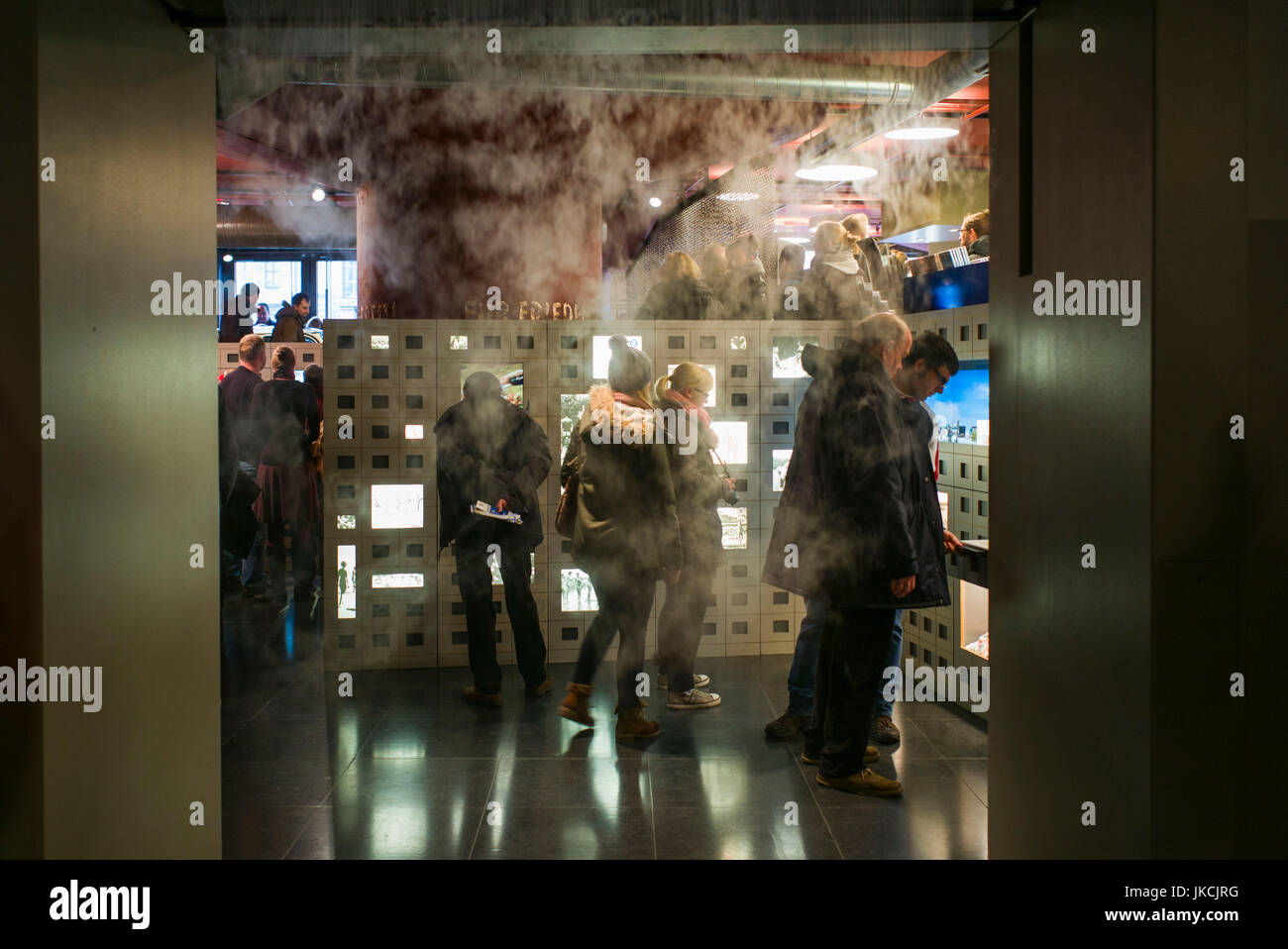 Germany, Berlin, Museum Insel, DDR Museum, museum of life in East German under Communist rule, exhibit with steam - Stock Image