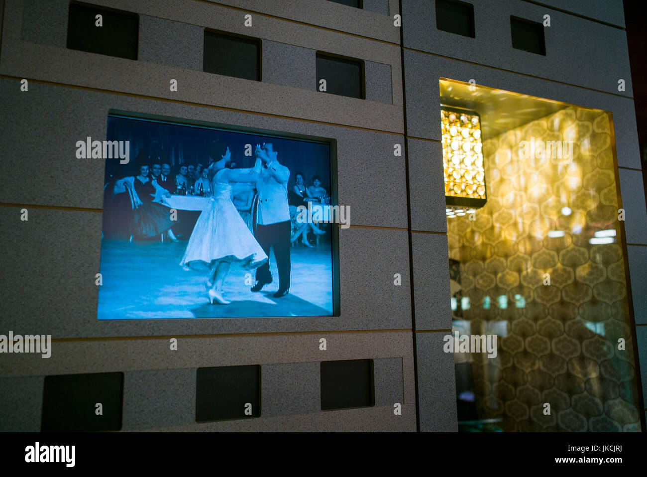 Germany, Berlin, Museum Insel, DDR Museum, museum of life in East German under Communist rule, video of ballroom - Stock Image