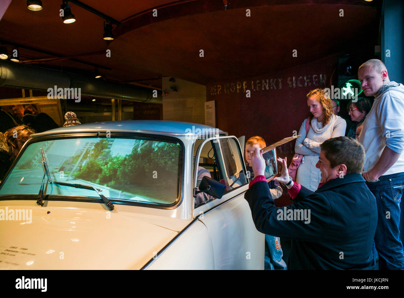 Germany, Berlin, Museum Insel, DDR Museum, museum of life in East German under Communist rule, Trabant car, Der - Stock Image