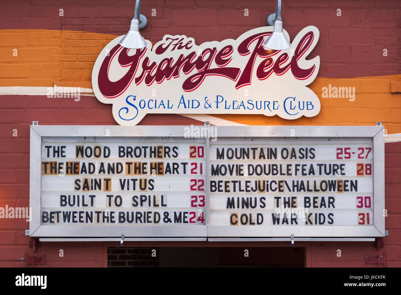 USA, North Carolina, Asheville, The Orange Peel, bar and music club - Stock Image
