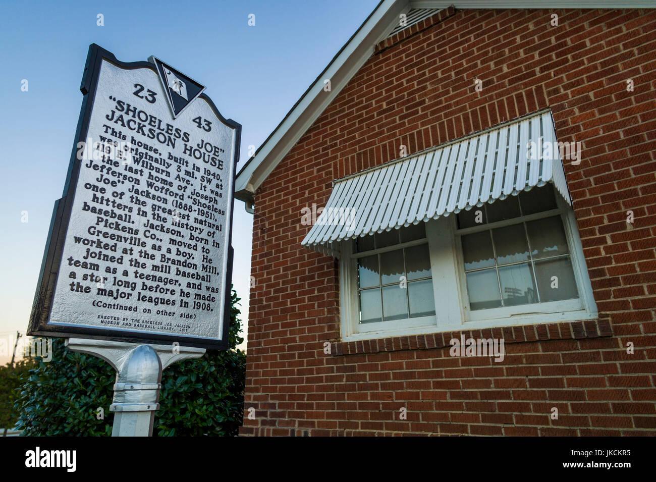USA, South Carolina, Greenville, Shoeless Joe Jackson Museum and Baseball Library, former home of Baseball legend - Stock Image