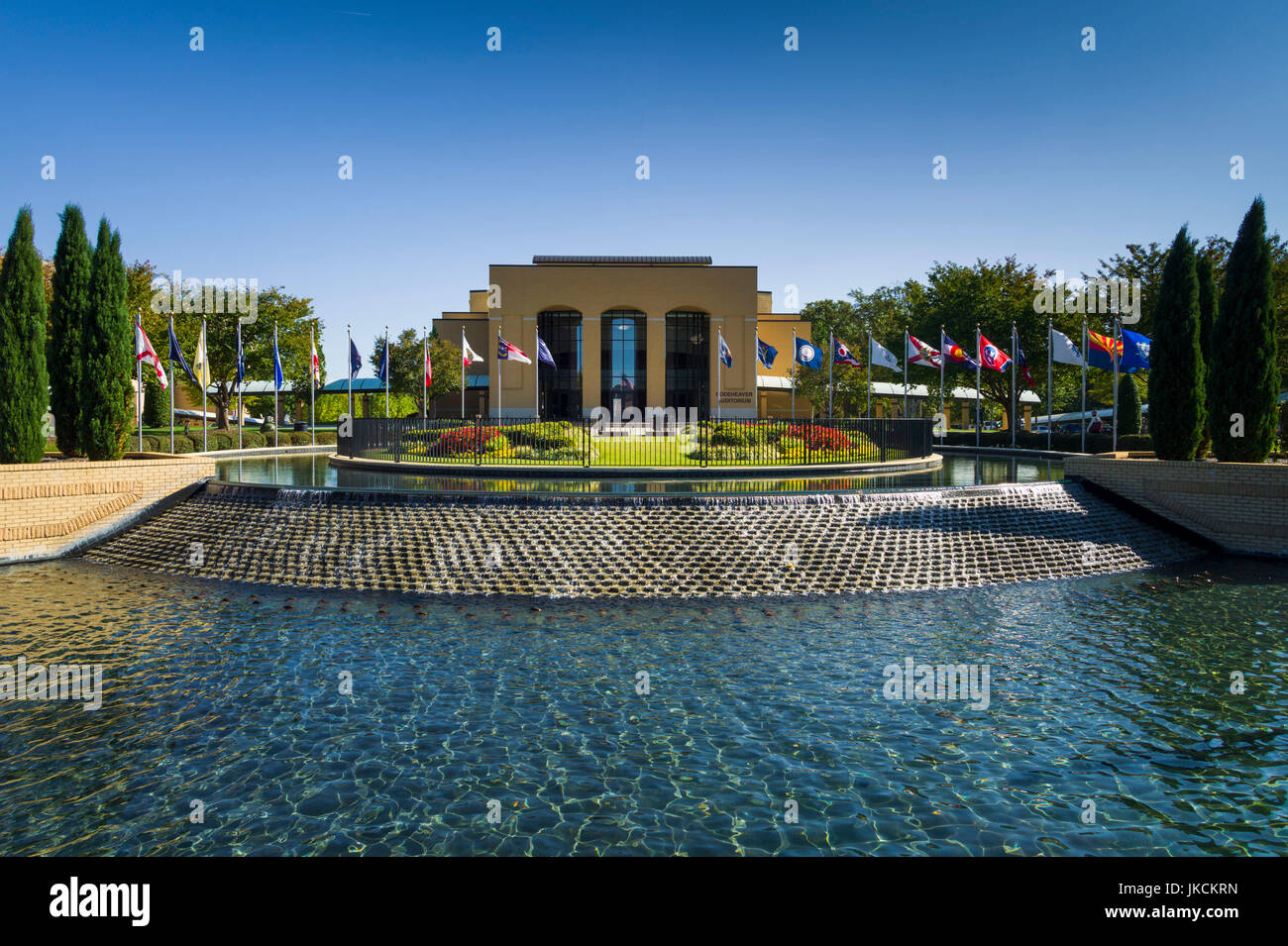 USA, South Carolina, Greenville, Bob Jones University, Rodeheaver Auditorium from the Fountain Bridge Stock Photo