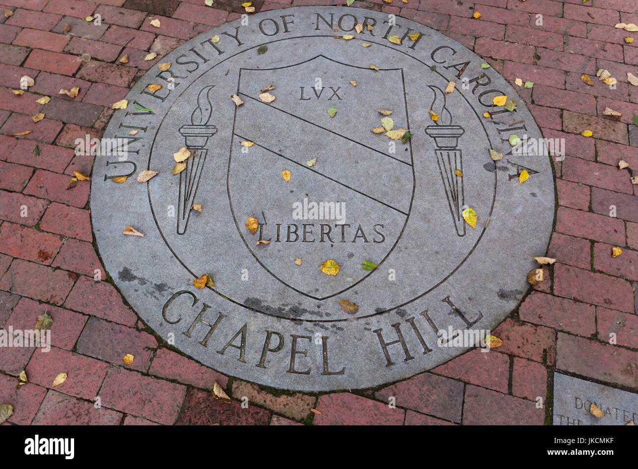 USA, North Carolina, Chapel Hill, University of North Carolina at Chapel Hill, walkway crest Stock Photo