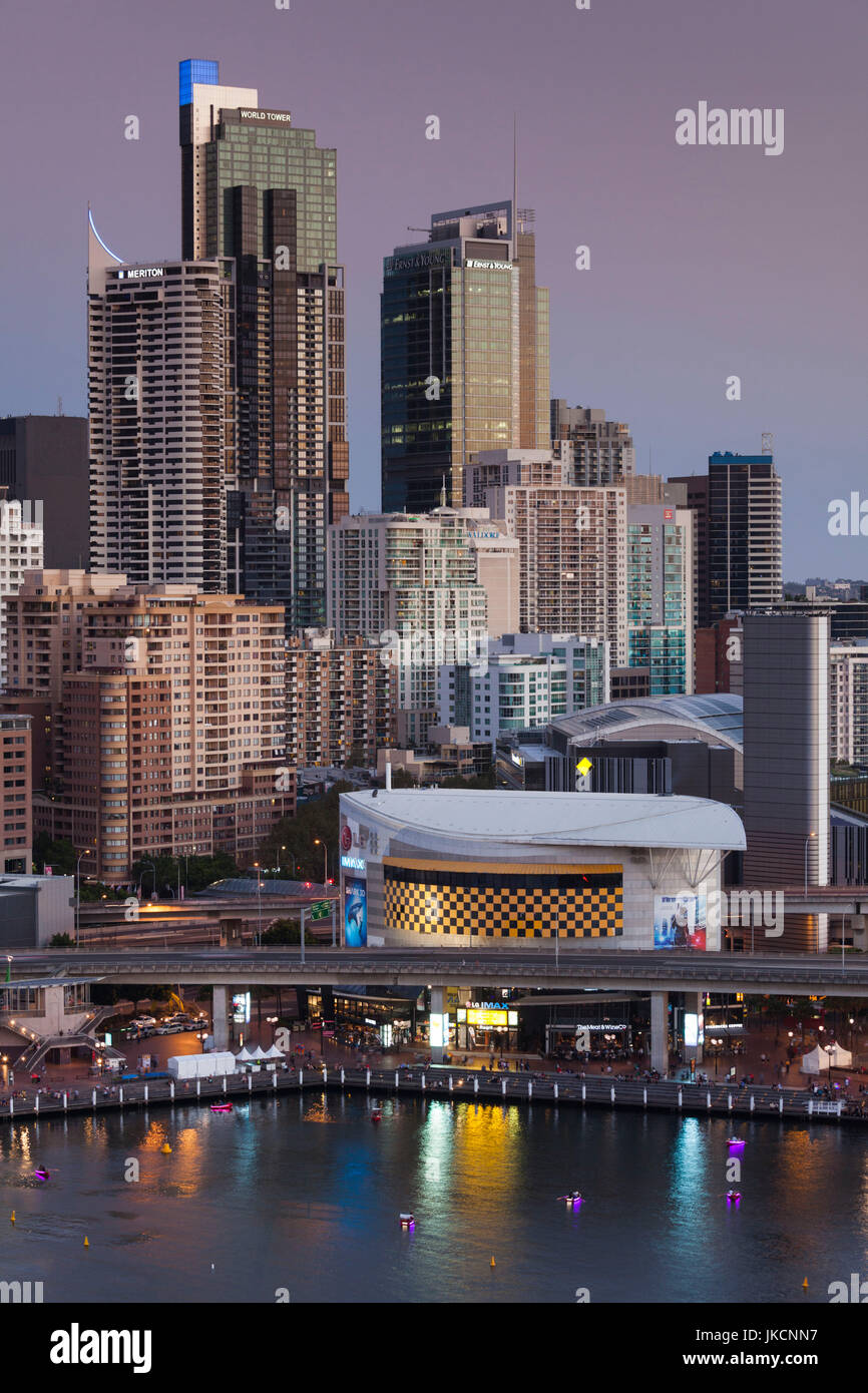 Australia, New South Wales, NSW, Sydney, CBD, Darling Harbour, elevated view, dusk - Stock Image
