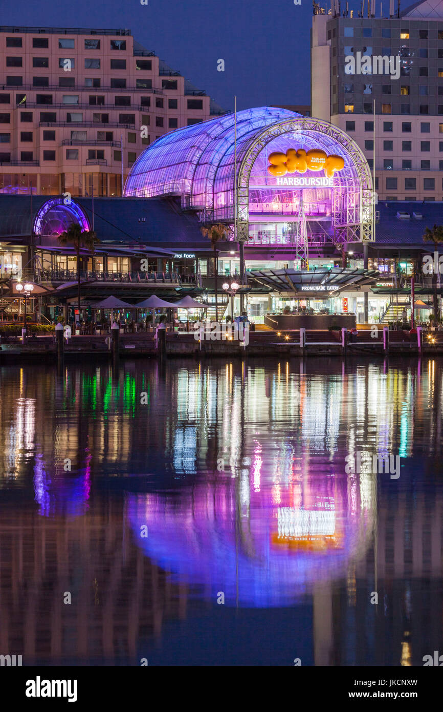 Australia, New South Wales, NSW, Sydney, Darling Harbour, Harbourside shopping arcade, dawn - Stock Image