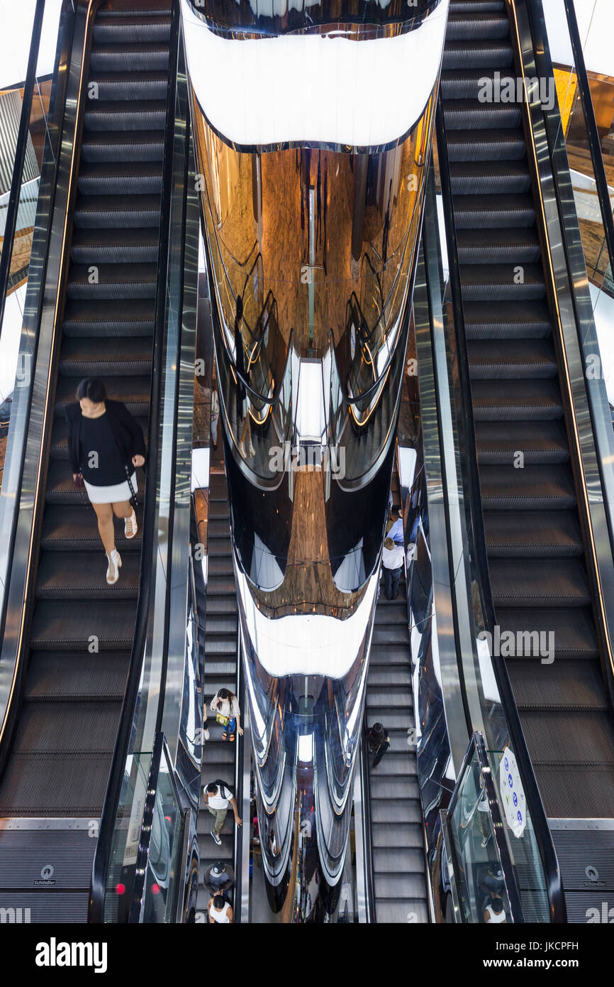 Australia, New South Wales, NSW, Sydney, The Westfield, shopping center, escalators Stock Photo