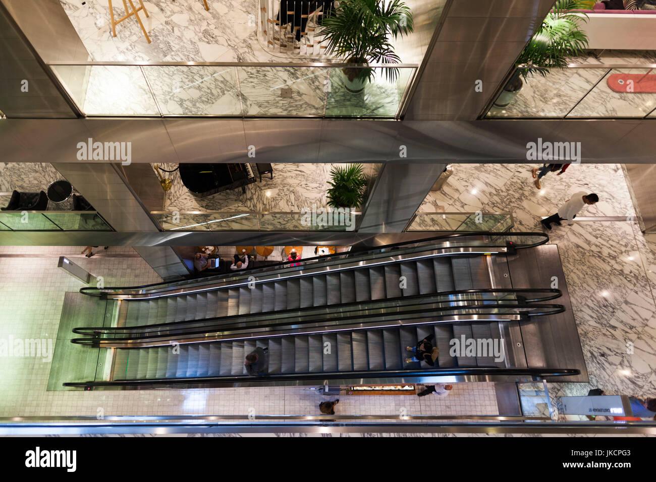 Australia, New South Wales, NSW, Sydney, The Westfield, shopping center, escalators Stock Photo