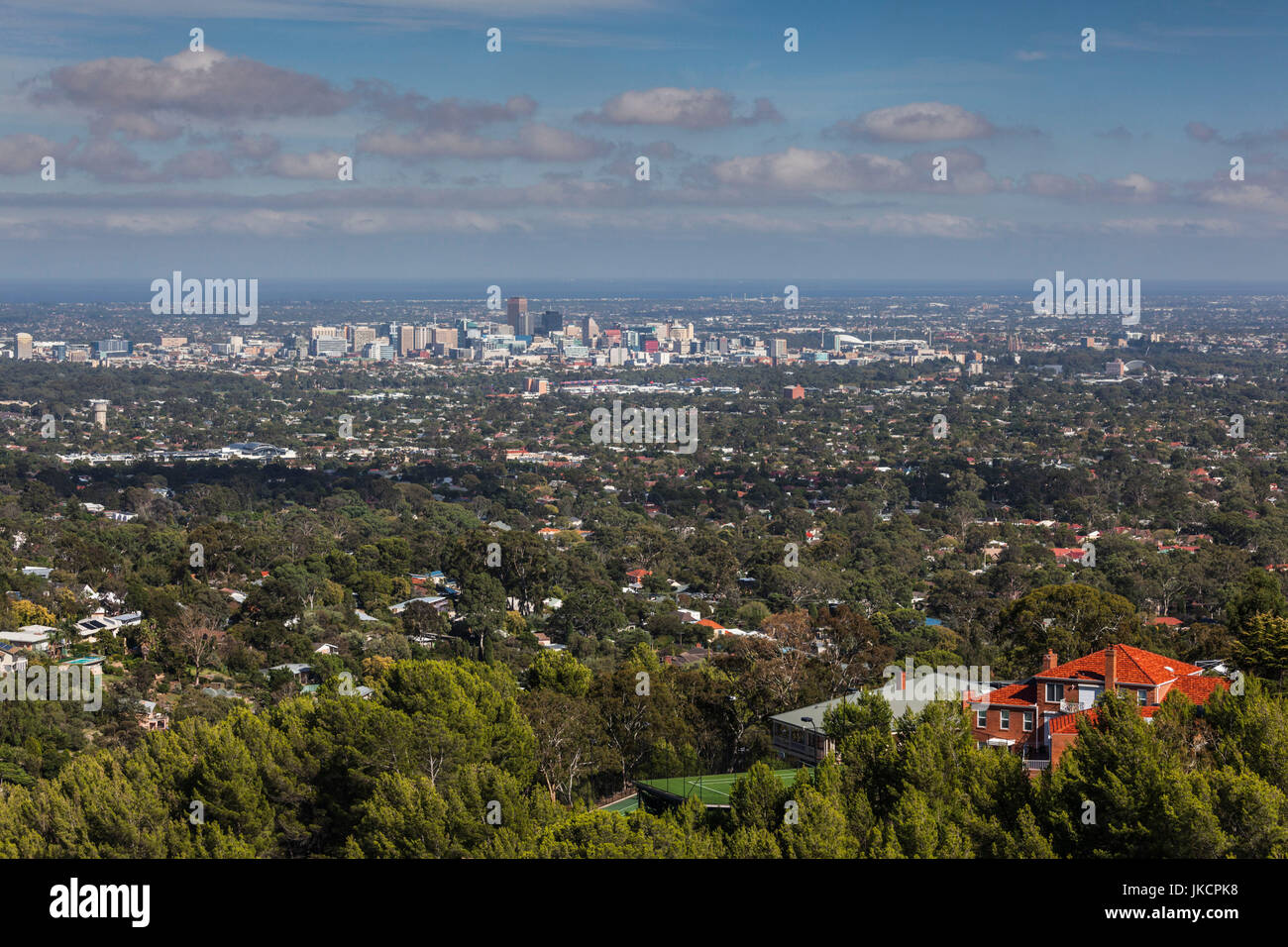 Australia, South Australia, Adelaide Hills, Crafers, elevated skyline of Adelaide from the Mount Lofty Summit - Stock Image