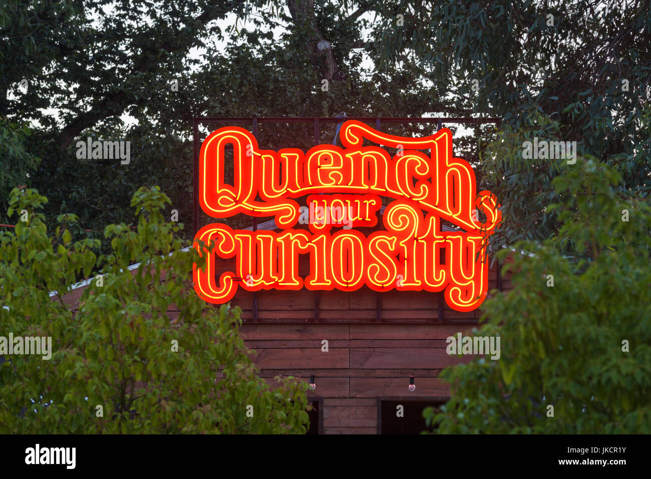 Australia, South Australia, Adelaide, Rundle Park, The Garden of Unearthly Delights, Quench Your Curiosity, neon - Stock Image