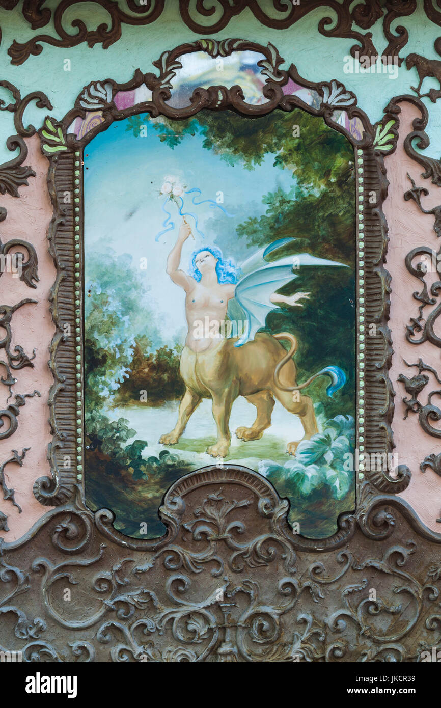 Australia, South Australia, Adelaide, Rundle Park, The Garden of Unearthly Delights, painted carrousel - Stock Image