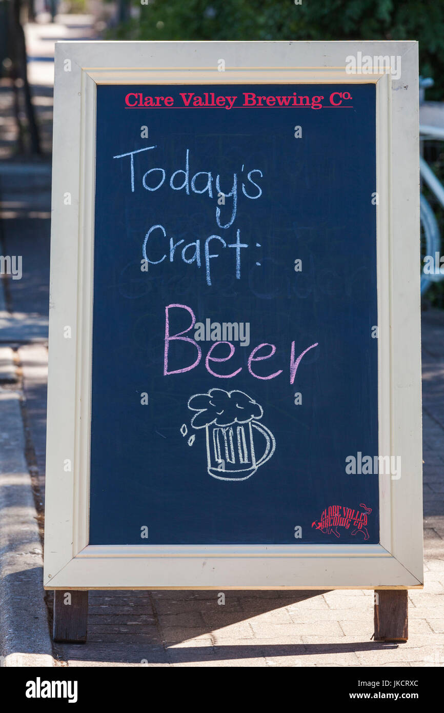 Australia, South Australia, Clare Valley, Auburn, beer sign at brewpub - Stock Image